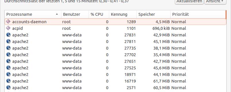 Bild von den laufenden Prozesse unter Linux